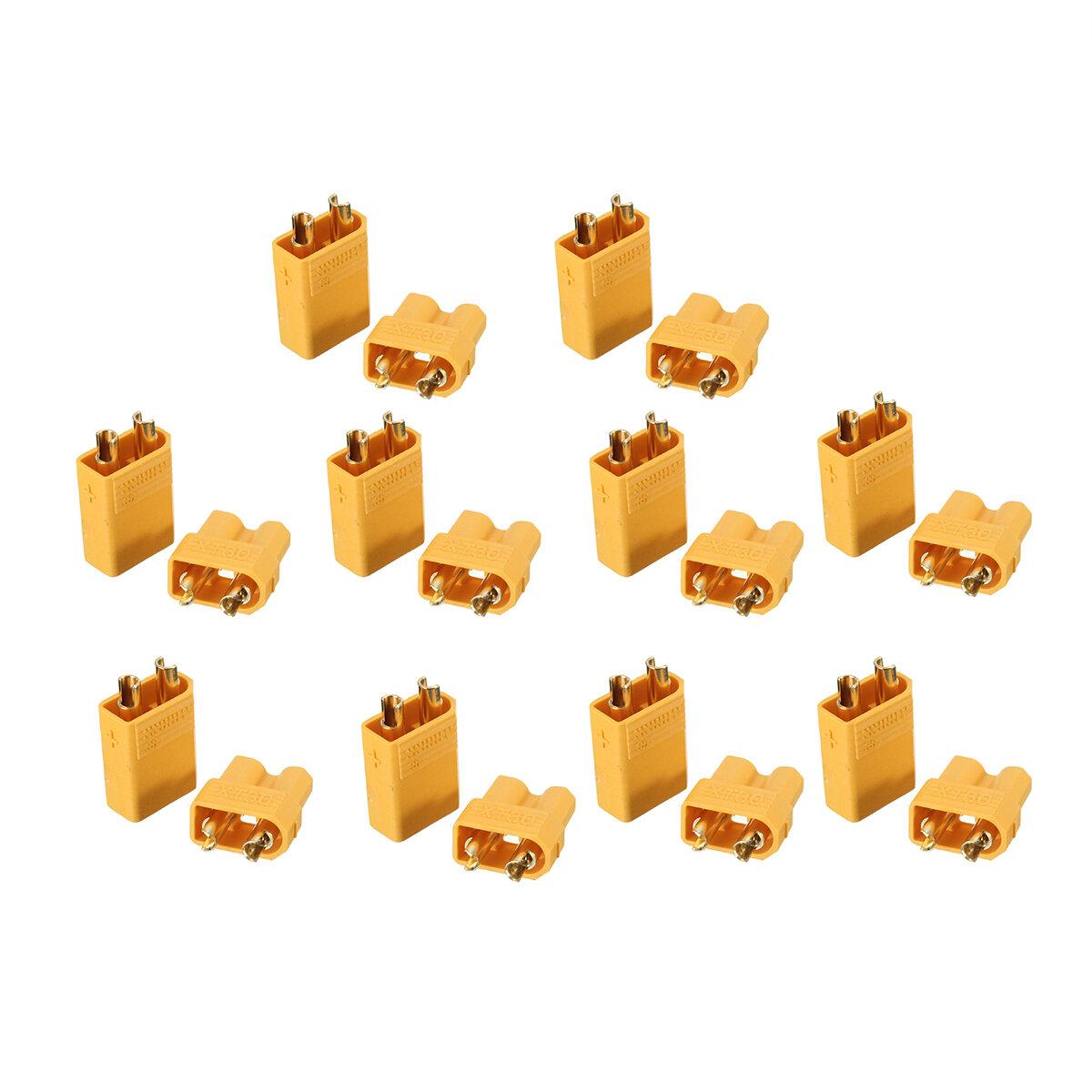 10 Pares XT30 2mm de Ouro Masculino Feminino Plug Conector