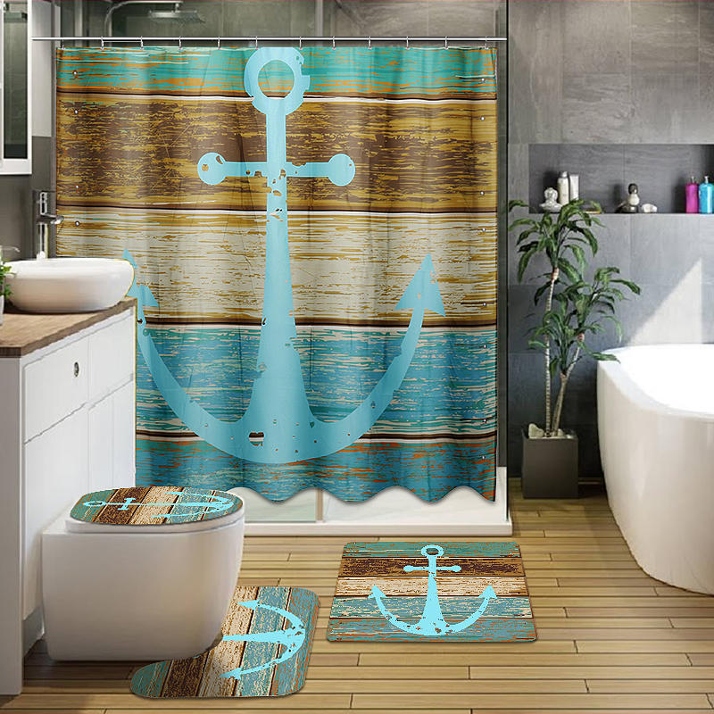 Sensational 3Pcs Retro Old Style Anchor Non Slip Bathroom Carpet Toilet Seat Cover Bath Mat Creative Set Bralicious Painted Fabric Chair Ideas Braliciousco