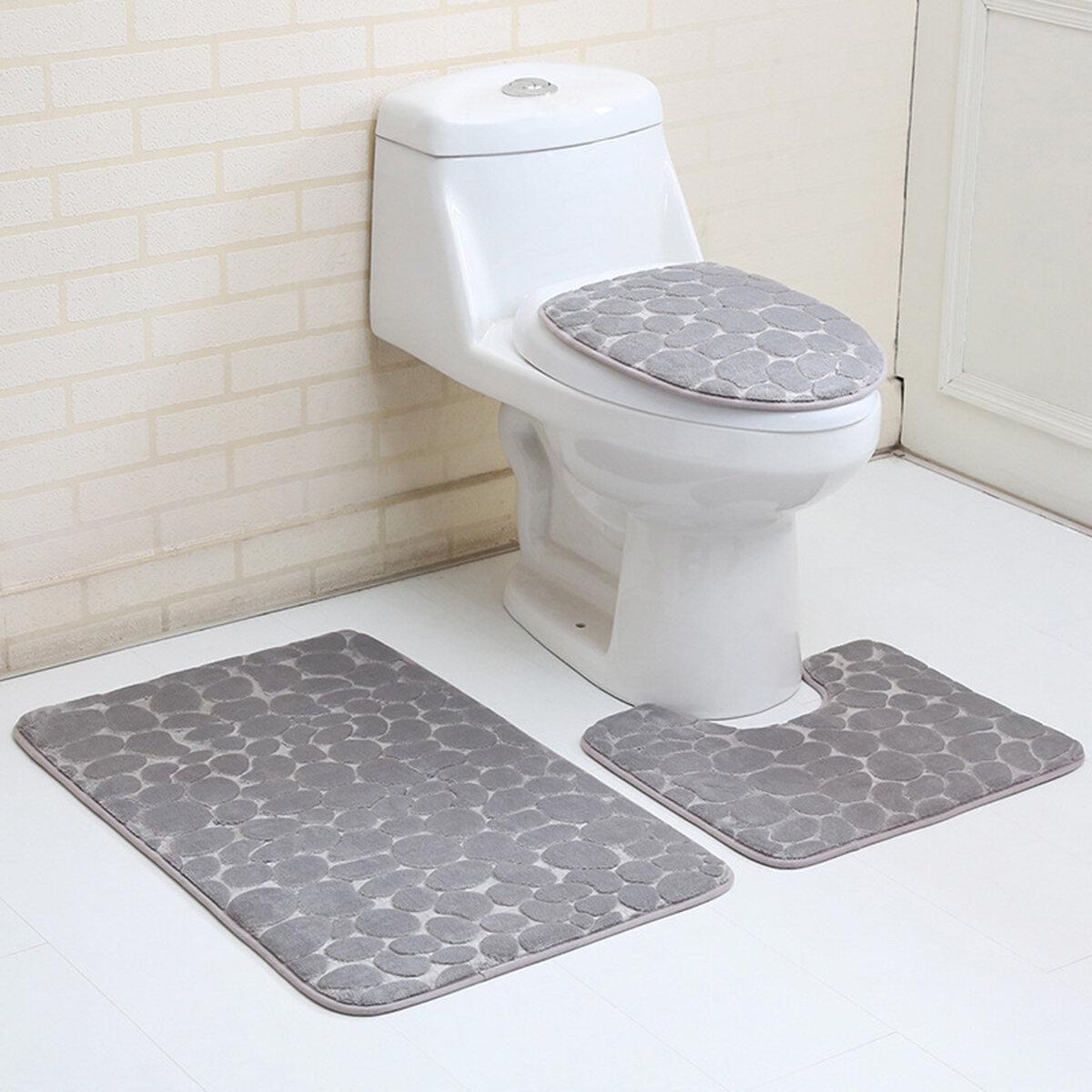 3PCS Toilet Seat Covers Bathroom Carpet Non-Slip Pedestal Rug + Lid Toilet  Cover + Bath Mat Set