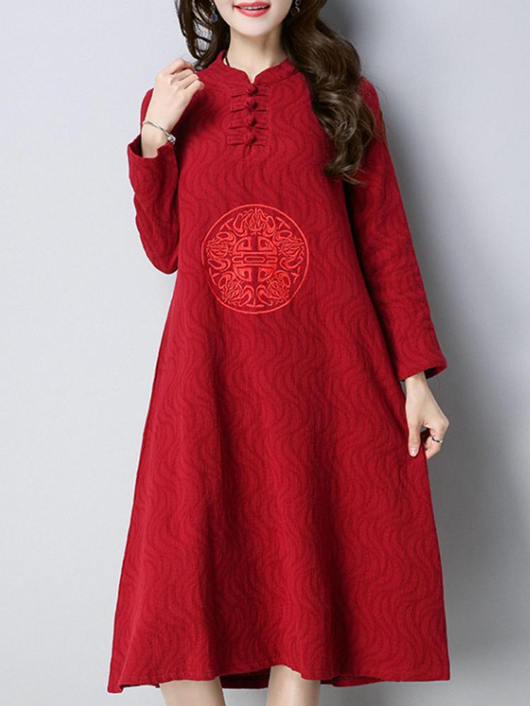 Vintage Kadın Nakış Standı Yaka Elbise