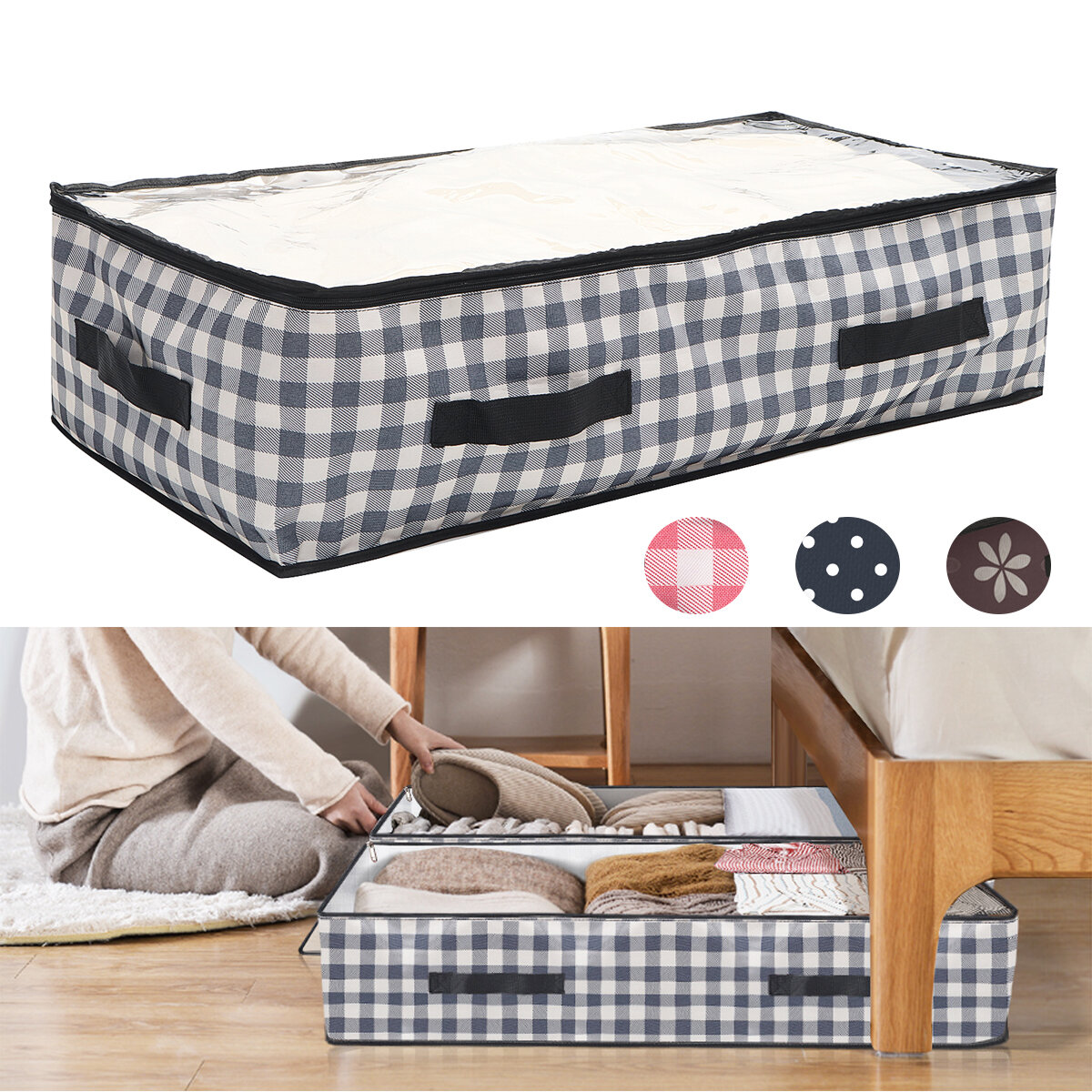 KING DO WAY 2PCS Bed Storage Bag Foldable 600D Oxford Cloth Large Capacity Waterproof Seam Resistant Clothes Storage Bag