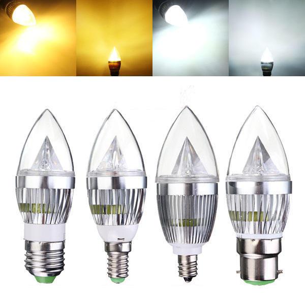 E12 E14 E27 B22 Dimmable 9W LED Chandelier Candle Light Bulb 220V
