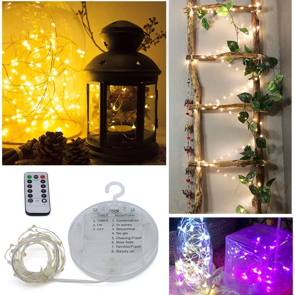 LUSTREON Battery Powered 5M 10M 8 Modes Timer IP67 Remote Control Hanging LED String Christmas Light