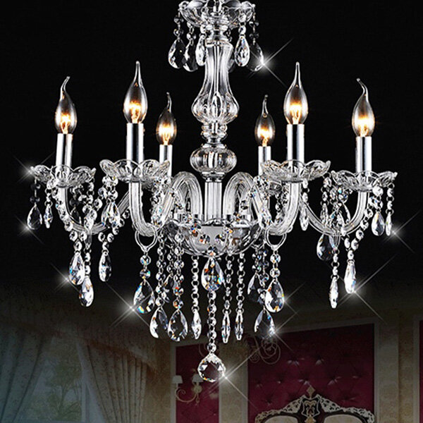 E12 6 Heads Clear Crystal Chandelier Dining Room Bedroom Ceiling Pendant  Light Fixture AC110-240V
