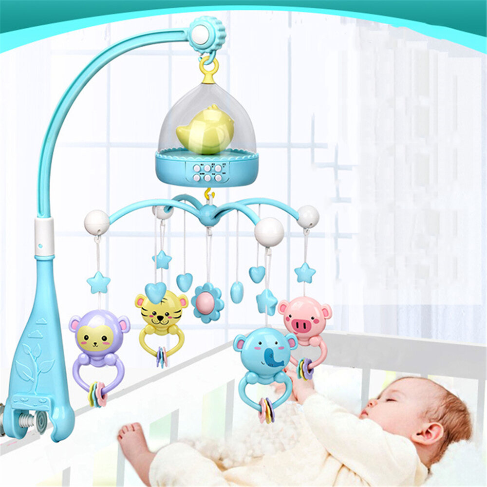 Musical Crib Mobile Bed Bell Toys Plastic Hanging Rattles Night Light High-end Musical Crib Mobile Baby Toys for 0-12 Months Baby