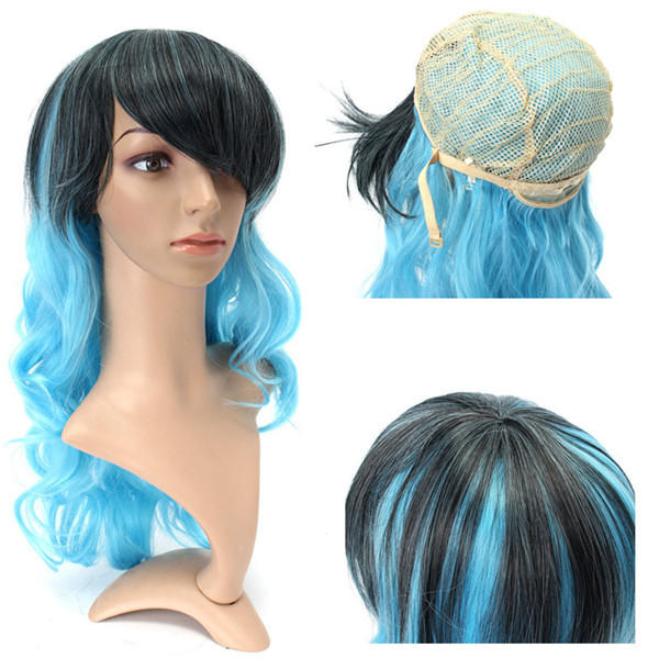 Cosplay Wig Mix Hair Wigs Women Full Long Curly Wavy Blue