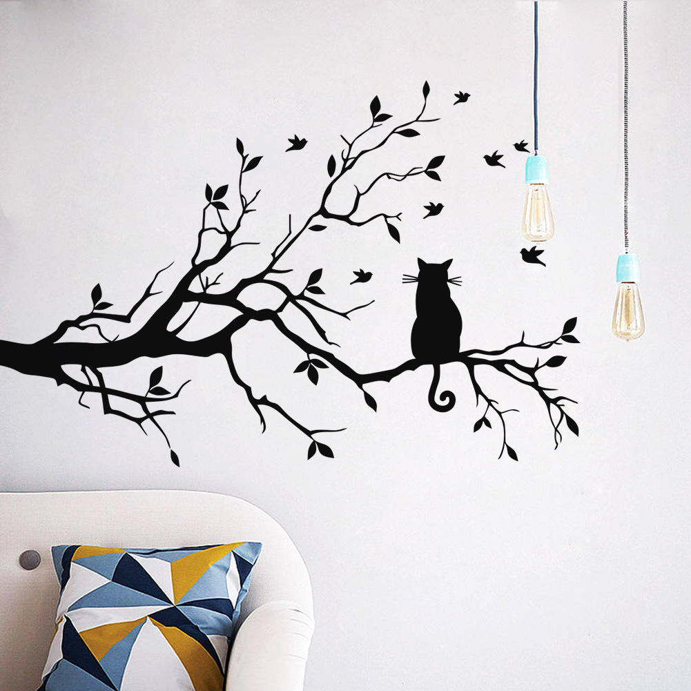 New Cute Cat On Long Tree Branch Removable PVC Wall Sticker Animals Cats Art Decal Beautiful Home Kids Room Decor Flying Birds Black Cat Animals Wall sticking Poster