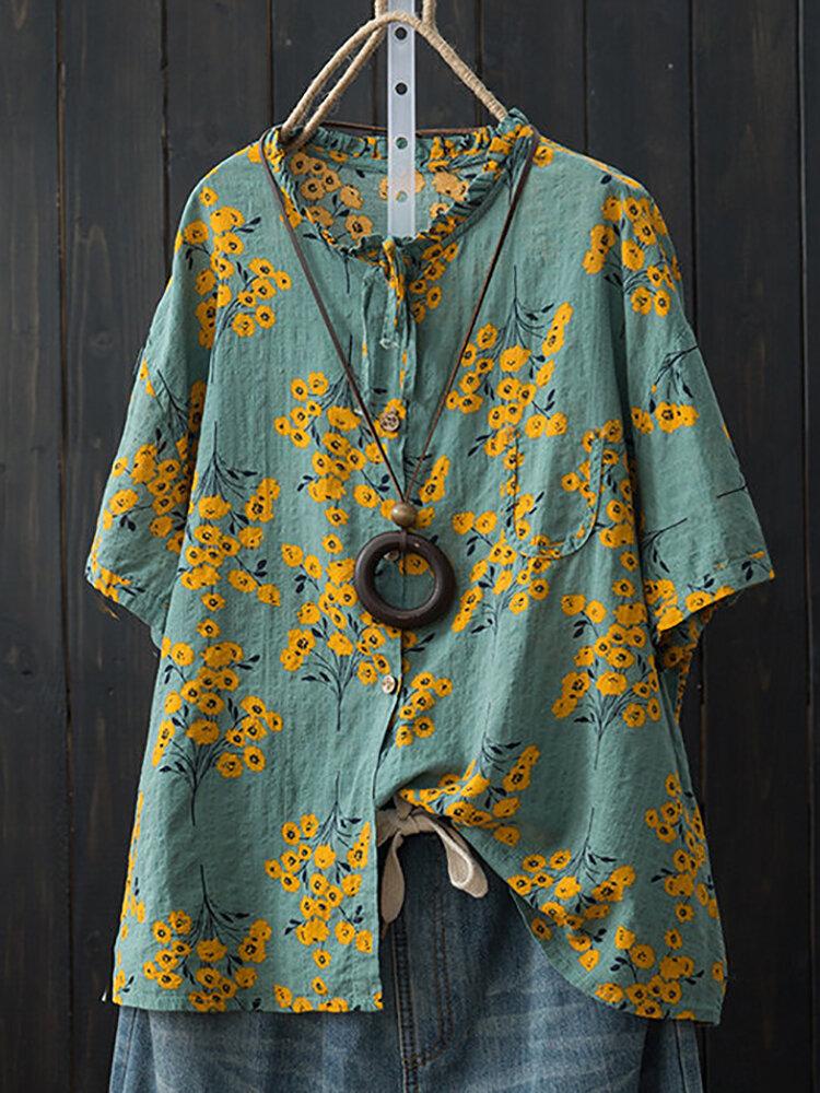 Mulheres de algodão soltas Batwing manga Floral Print Button Pocket Camisas