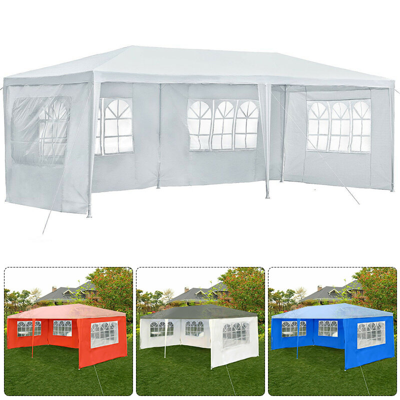 3x12m 4 Side Gazebo Shelter Waterproof Canopy Wall Gazebo Shelter with Window without Top Outdoor Camping Travel