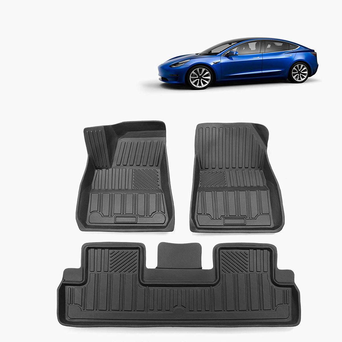 टेस्ला मॉडल 3 ऑल-वेदर फिट्स के लिए ब्लैक टीपीई वाटरप्रूफ कार फ्लोर मैट