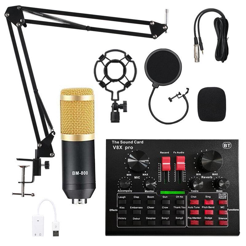 Kit de microfone condensador BM800 Pro com placa de som V8X PRO muti-funcional Bluetooth