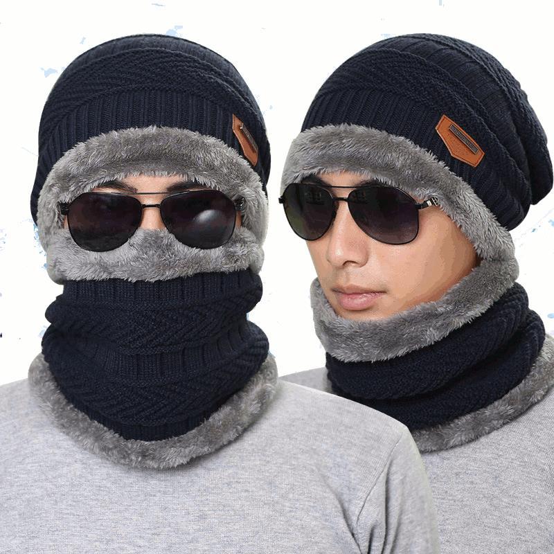 Mũ len dệt kim Mũ cổ ấm hơn Mũ mùa đông cho nam Nữ Skullies Beanies Lông cừu