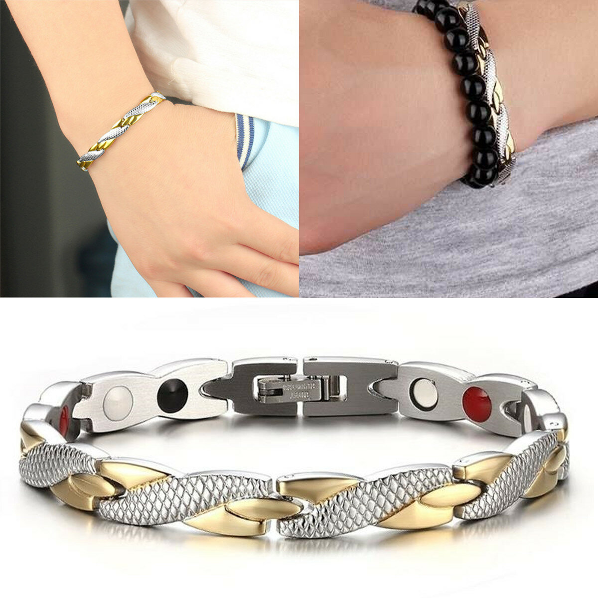 4cec26c0ff6 Fashion Magnetic Therapy Single Row Bracelet For Men Stainless Steel Silver  Gold Chain Bracelet COD