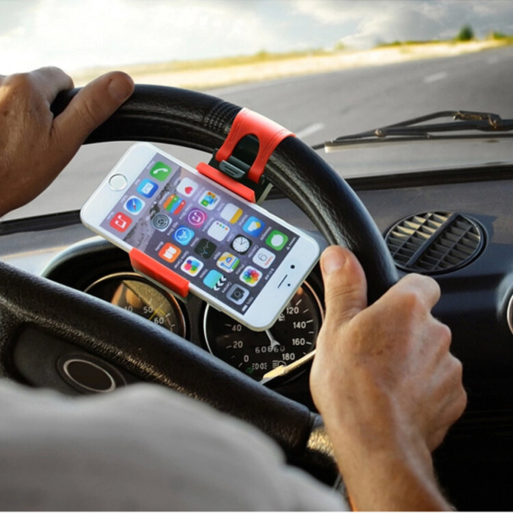Universal Mobile Phone Stand Holder Mount Clip Buckle Socket on Car Steel Ring Wheel for iPhone 6 Plus
