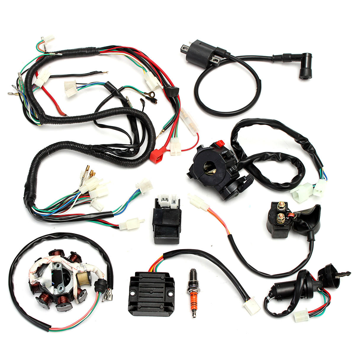 complete electrics wiring harness for chinese dirt bike atv quad 150-250  300cc cod