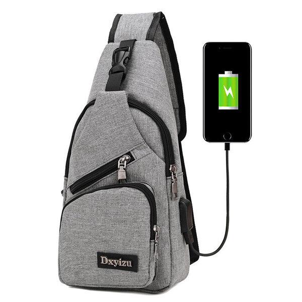 Men Casual Sling Bag Outdoor Travel Chest Shoulder Crossbody Bag with USB Port