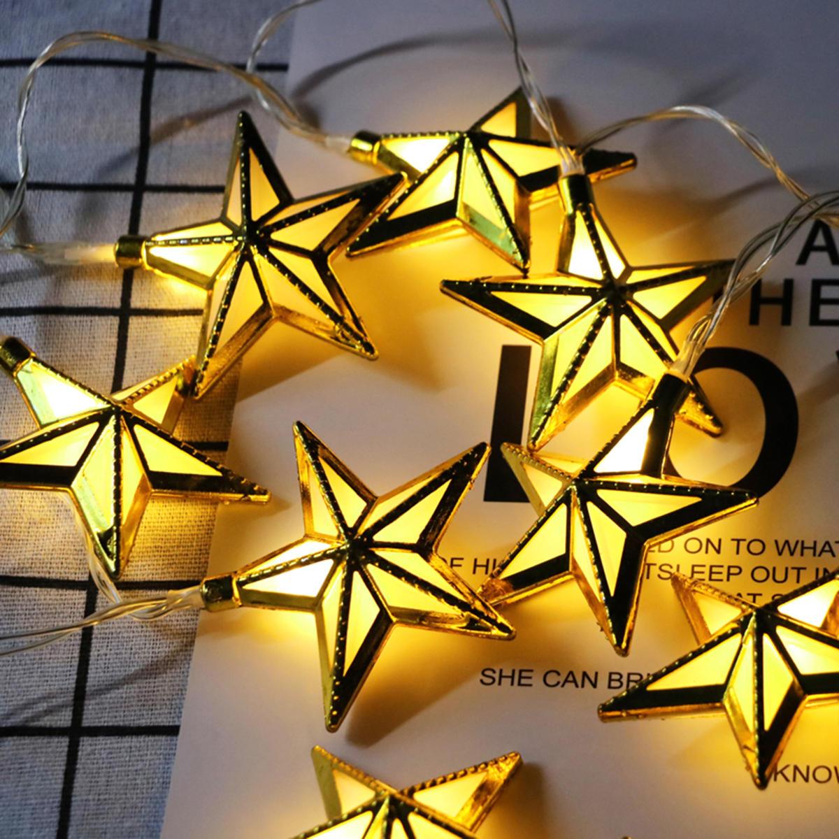 10PCS Golden Pentagram Shape Eid Ramadan LED Fairy String Light Lamp Islamic Indoor Party Decor