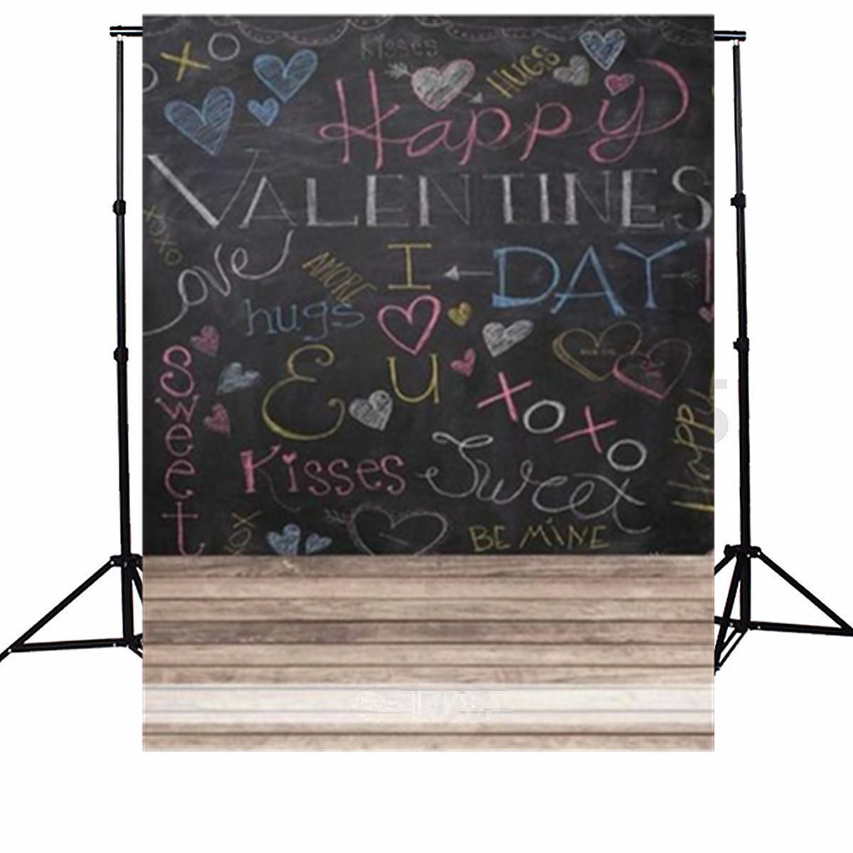 5x7FT Vinyl Happy Valentine's Day Love Kiss Chalk Word Photo Studio Background Backdrop