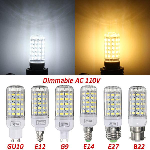E27 / e14 / e12 / B22 / G9 / gu10 dimmable 6W AC110V LED lâmpada de 60 SMD lâmpada de luz branca / quente branco 5730 de milho
