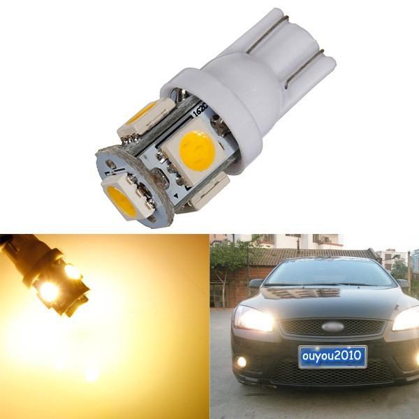 חם לבן 3000K T10 W5W 5SMD 5050 LED רכב מנורה