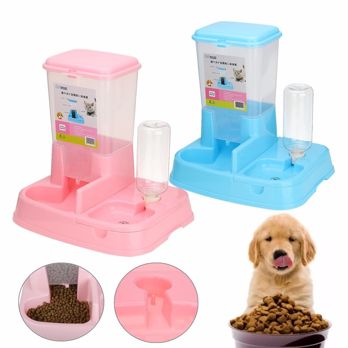 Automatic Drinking Water Dispenser w// Dish Feeder for Pet Cat Dog