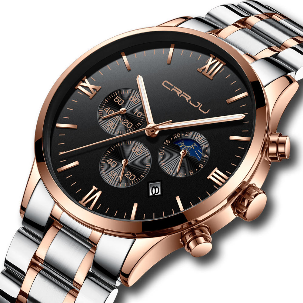 CRRJU 2159 Creative Sun Moon Men Business Style Chrono 316L Stainless Steel Strap Quartz Watch