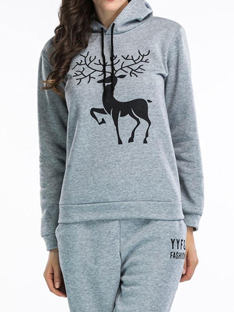 Christmas Women Casual Snow Deer Printed Long Sleeve Hooded Sweatshirts