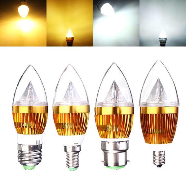 E12 E14 E27 B22 Regulable 3W LED Candelabro Vela Bombilla 220V