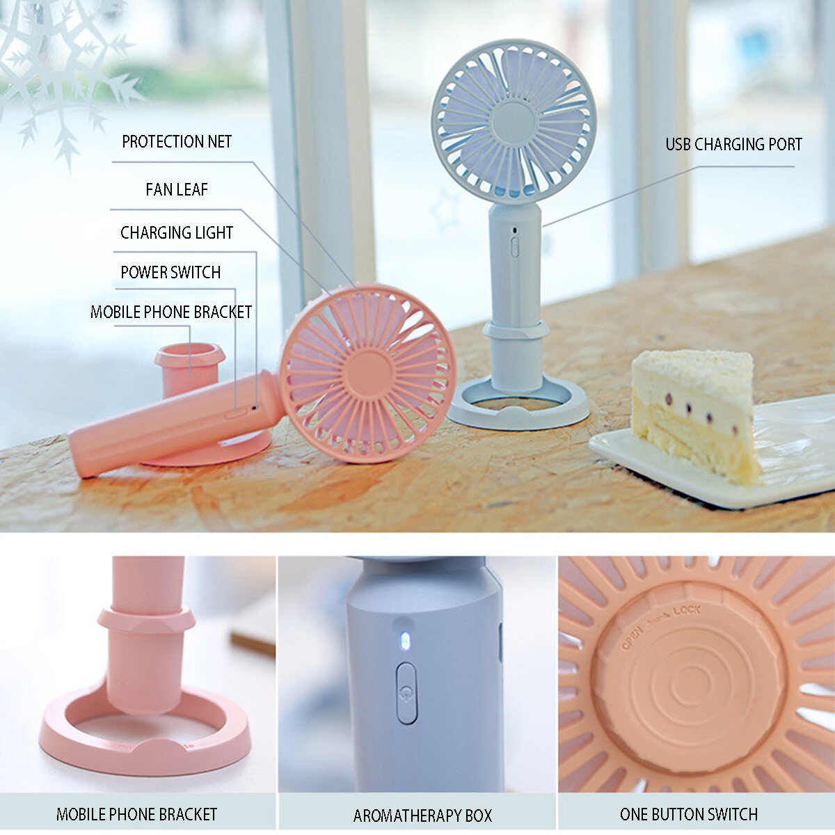 Portable Handheld Mini USB Desk Small Fan 3 Cooling Wind Speed Outdoor Travel