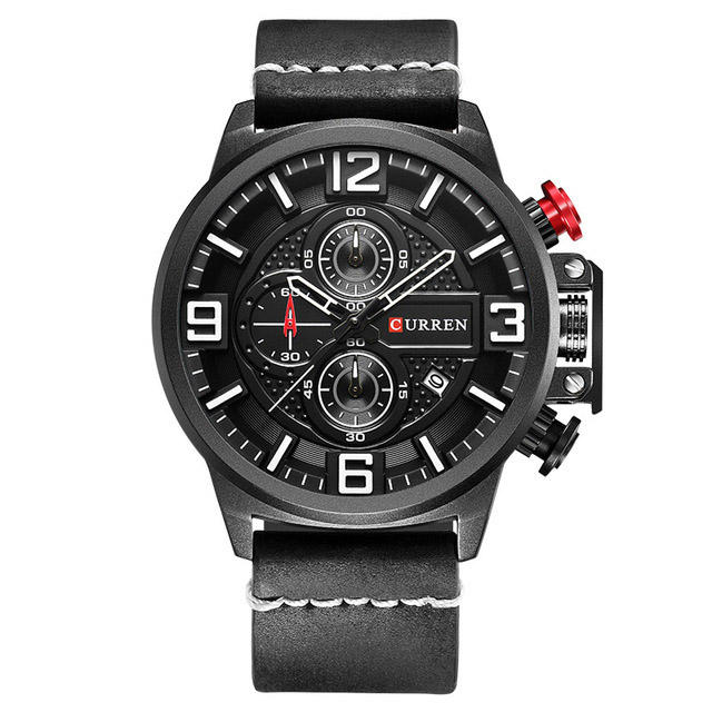 CURREN 8278 Business Style Men Watch Chronograph Genuine Kulit Band Kuarsa Watch