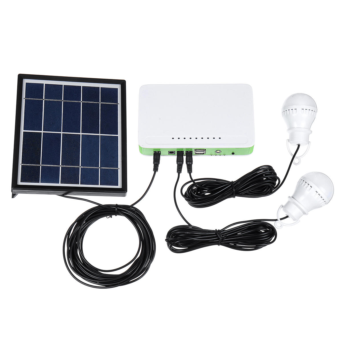 Solar Powered System Generator Panel Power Storage Charger Outdoor USB LED Bulb Lamp фото