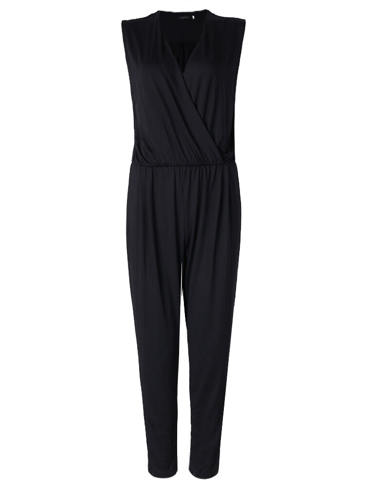 Elegant Women V-neck Sleeveless Pleated Slim Pure Color Jumpsuit