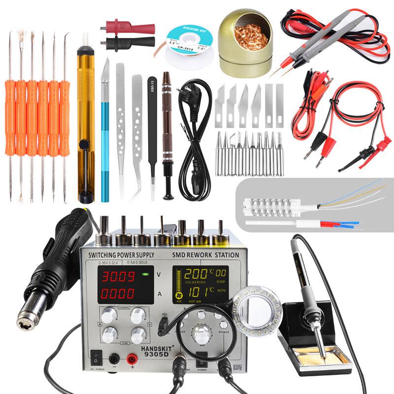 Handskit 9305D 4 in 1 Hot Air Rework Station + Soldering Iron Station + 30V 5A DC Power Supply