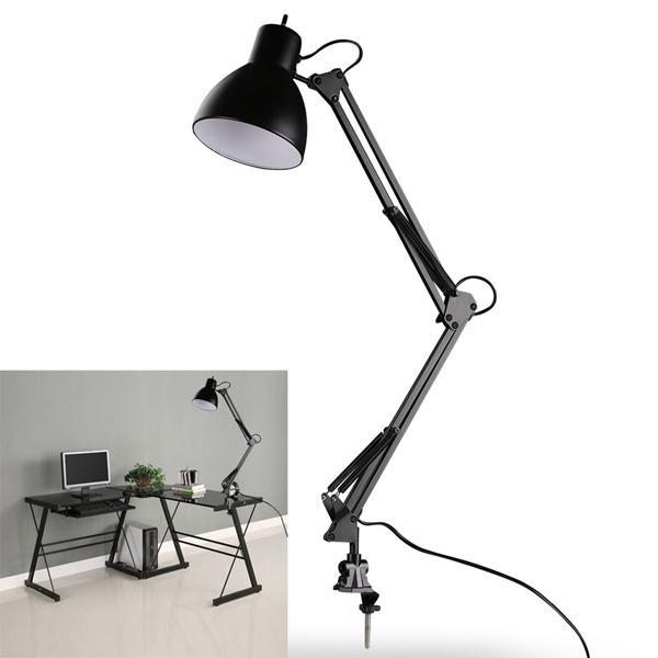 Flexible Swing Arm Clamp Mount Lamp Office Studio Home E27/E26 Table Black Desk Light AC85-265V фото
