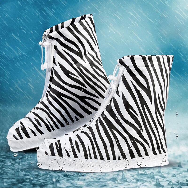 PVC Women Rain Shoes Cover Adjustable Double Layers Zebra Pattern Waterproof Rain Reusable Shoes Covers Slip-resistant Rain Boot