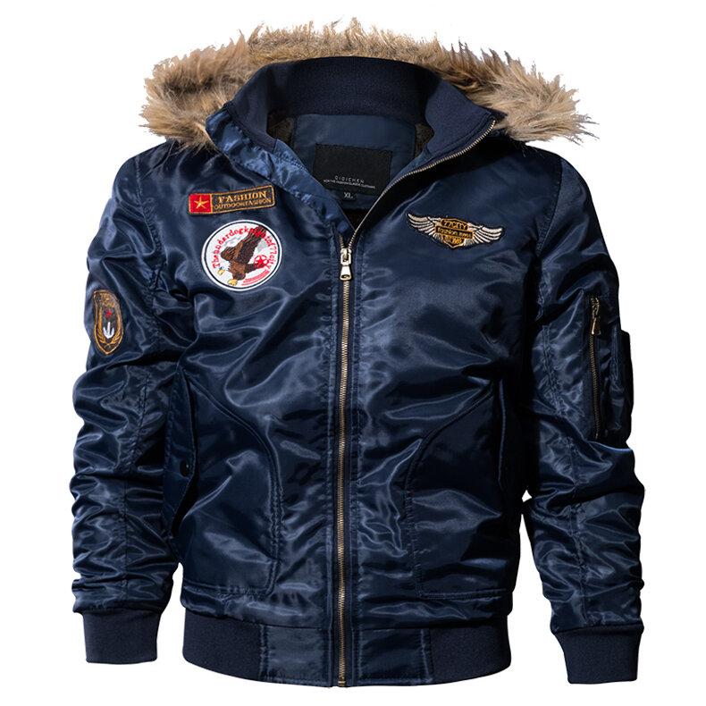 7eba33761 Men Pilot Bomber Jacket Army Military Flight Motorcycle Jackets Winter  Parkas Padded Outerwear