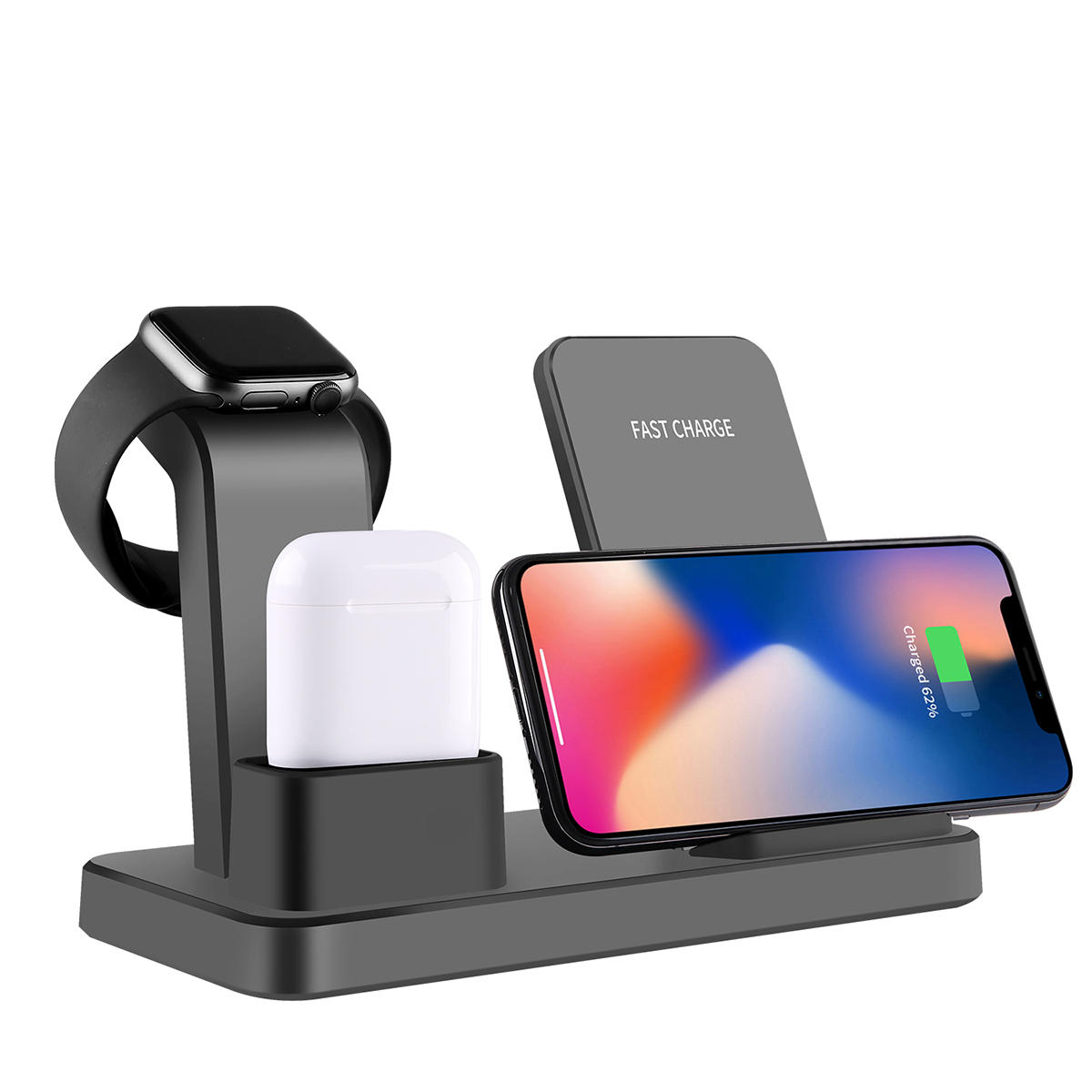 release date 354f4 beebe Bakeey 10W Qi Wireless Charger For Iphone X 7 8 3 IN 1 Fast Charger Quick  Charge For Apple Watch