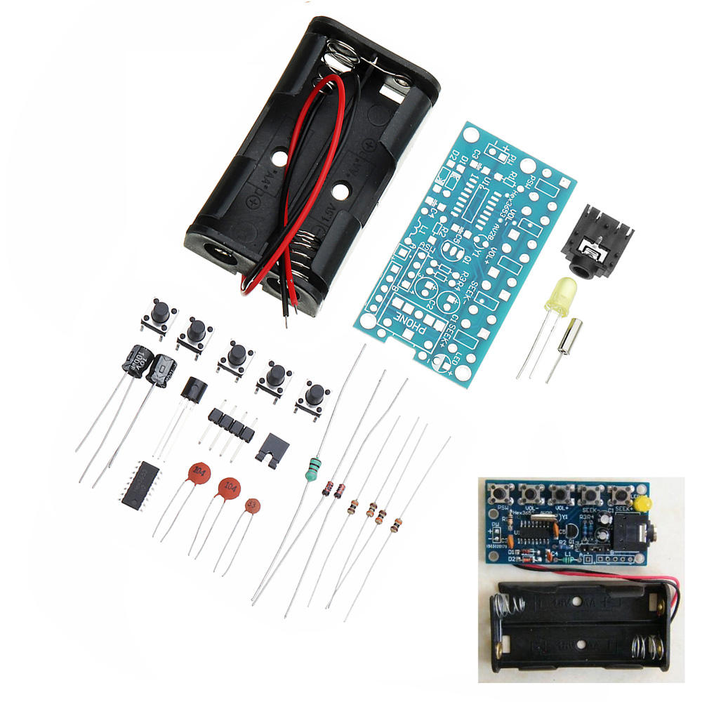 Wireless Stereo FM Radio Receiver Module PCB DIY Electronic Kits 76MHz-108MHz 8B