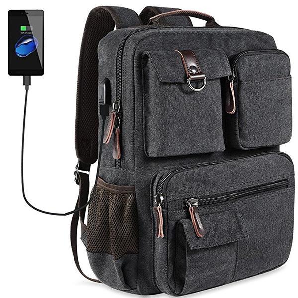 Рюкзак перемещения холстины вскользь большой емкости людей Сумка с портом USB и отсеком компьтер-книжки