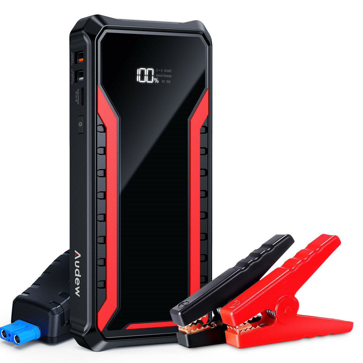 Audew 1500A 18000mAh Car Jump Starter for Up To 8.5L Gas or 6.5L Diesel Engines with 15W Wireless Quick Charging