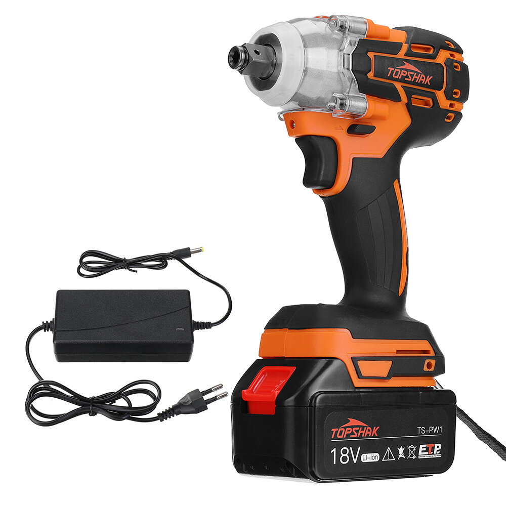 Topshak TS-PW1 Brushless Impact Wrench LED Working Light Rechargeable Woodworking Maintenance Tool W/ Battery Also For Makita