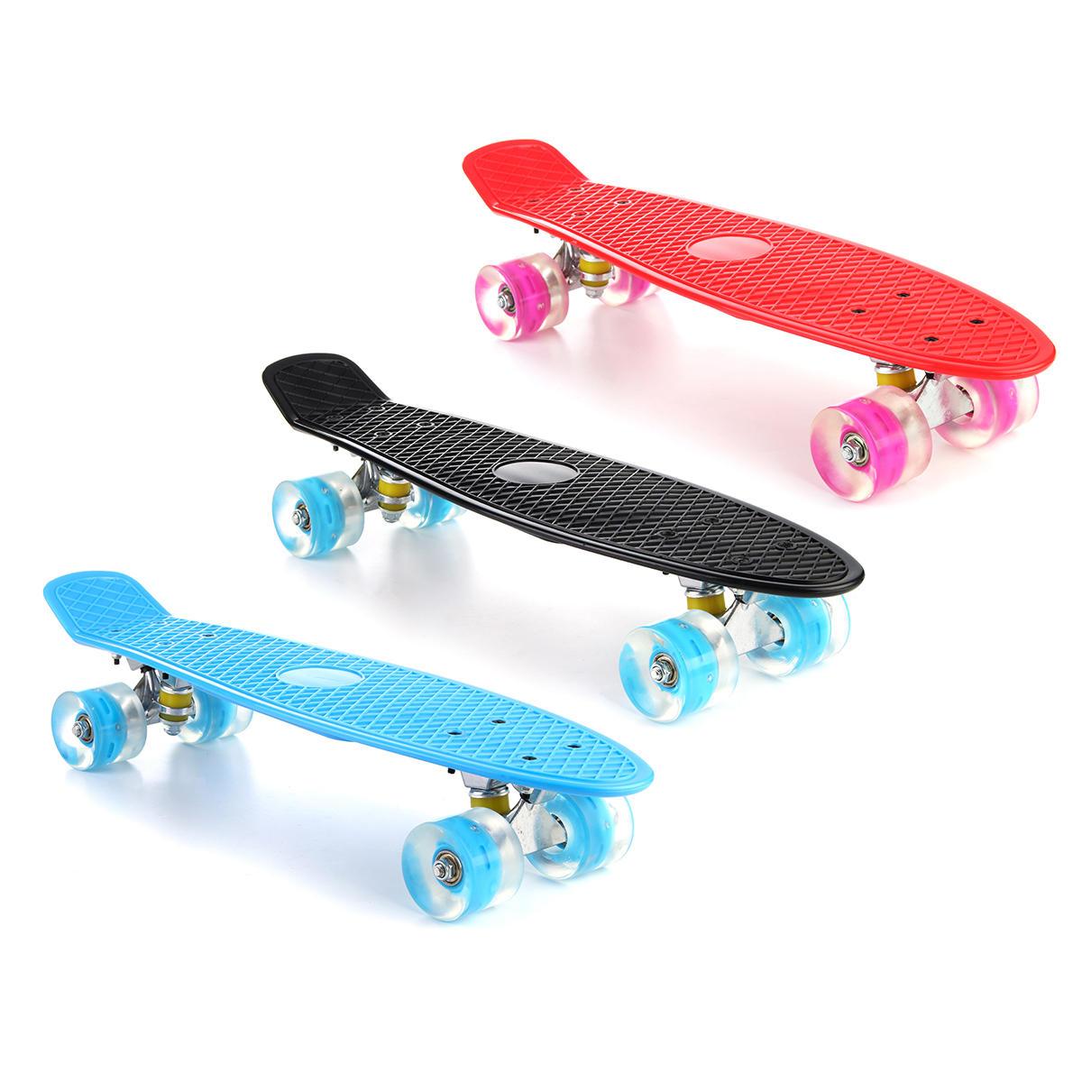 22'' LED Light Up Fish Skateboard 4 PU Wheel Single Warping Board Teenagers Kids Skateboard