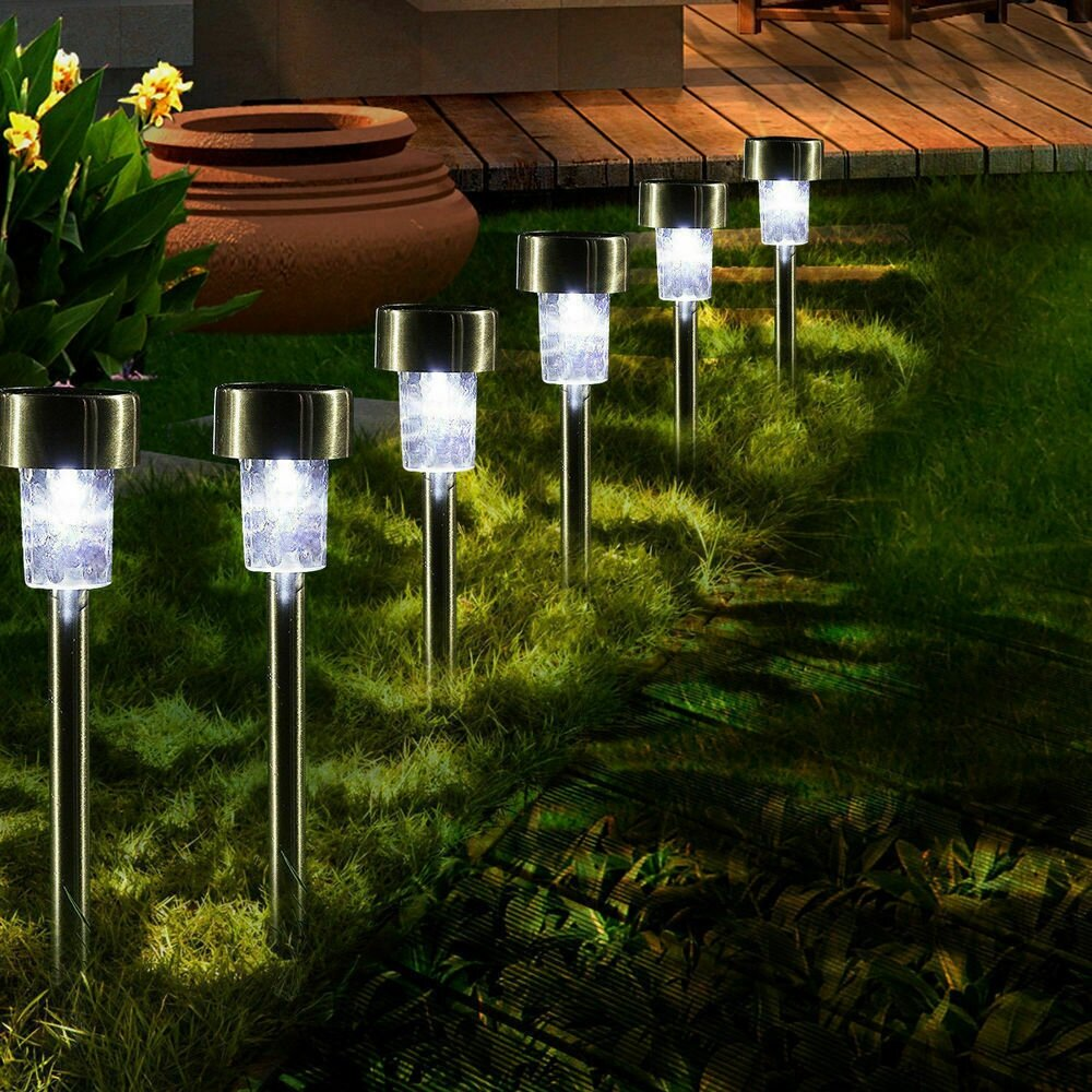 16pcs Led Solar Stainless Steel Lawn