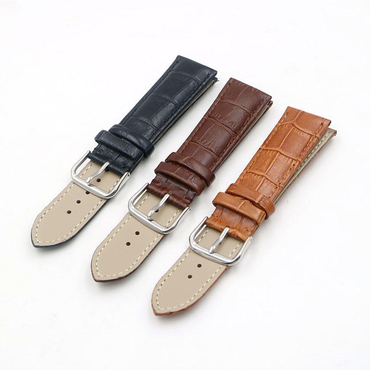 22mm Genuine Leather Strap Band Bamboo Grain For Bulova Watch Black Brown