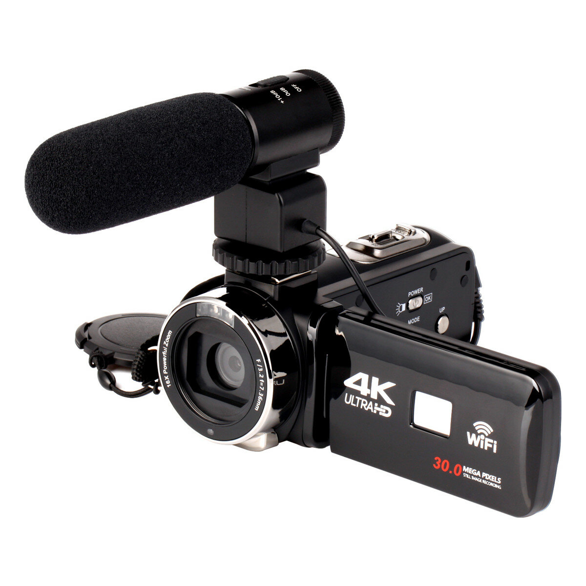 4K WiFi Ultra HD 1080P Caméscope numérique DV Caméscope 16X ZOOM avec objectif et microphone