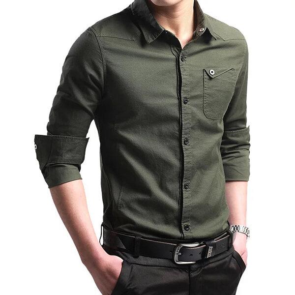 ऑफ रोड मिलिटरी फैशन सुंदर स्टाइल स्लिम फ़िट कपास लंबी आस्तीन पुरुषों शर्ट