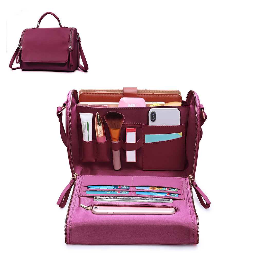 Brenice Women Flap Cosmetic Handbag Multifunction Crossbody Bag Shoulder Bag