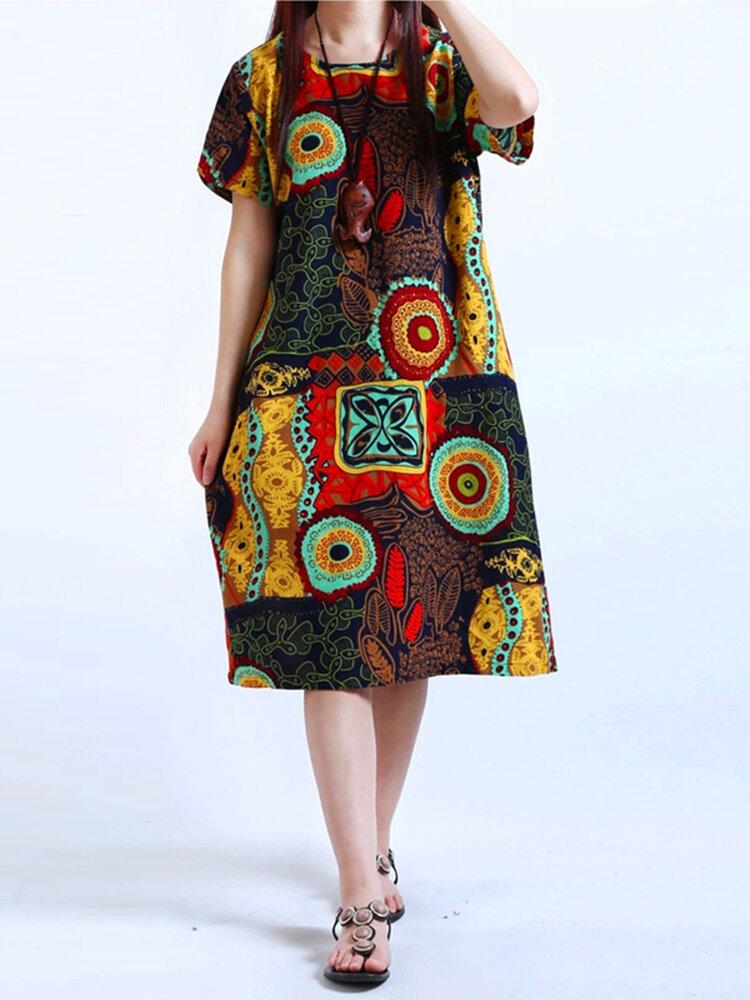 Algodón Mujer Patrón Impreso manga corta O-cuello Vestidos
