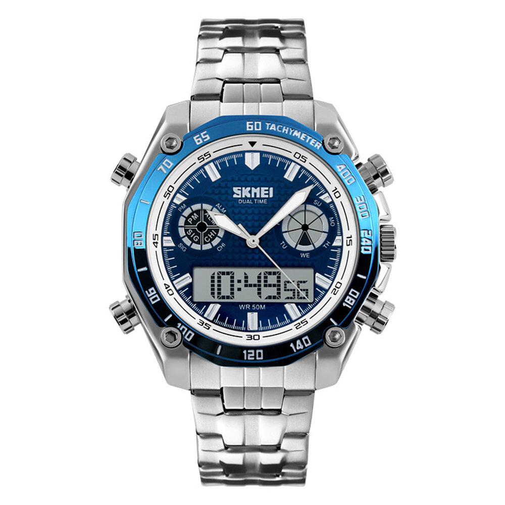 Đồng hồ kỹ thuật số SKMEI 1204 Dual Dsplay Đàn ông thép không gỉ Dây đeo báo thức sáng thể thao ngoài trời