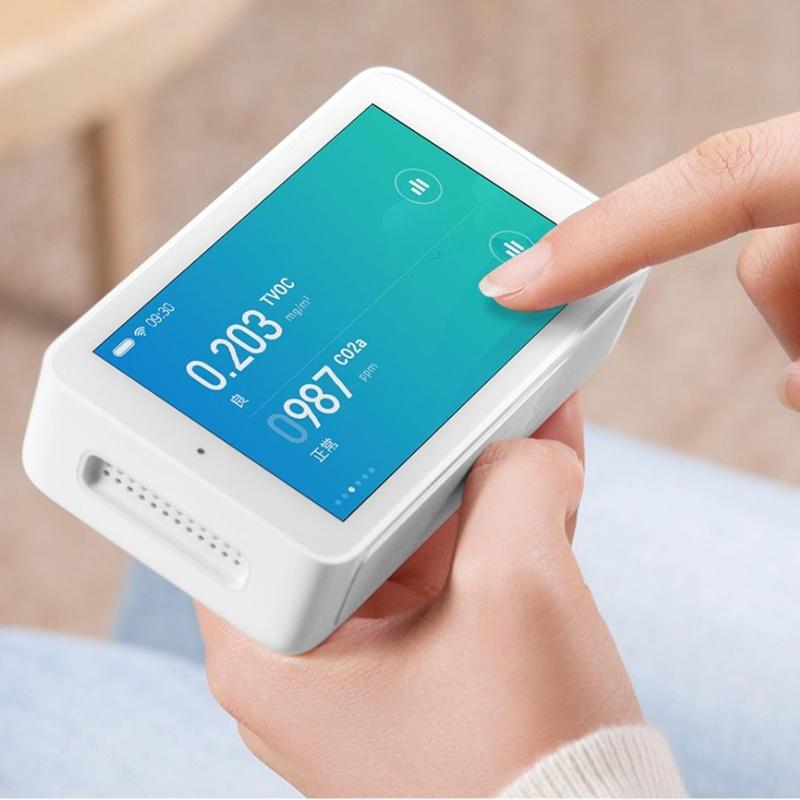 Xiaomi Mijia Air Quality Tester Sensitivitas Tinggi Penginderaan 3.97-inch Resolusi Layar 800 * 480 Antarmuka USB Remote Monitoring TVOC CO2 PM2.5 Suhu dan Kelembaban Pengukuran